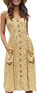 Imysty Womens Summer Boho Dresses Spaghetti Strap Button Down Casual Swing Midi Dress with Pockets