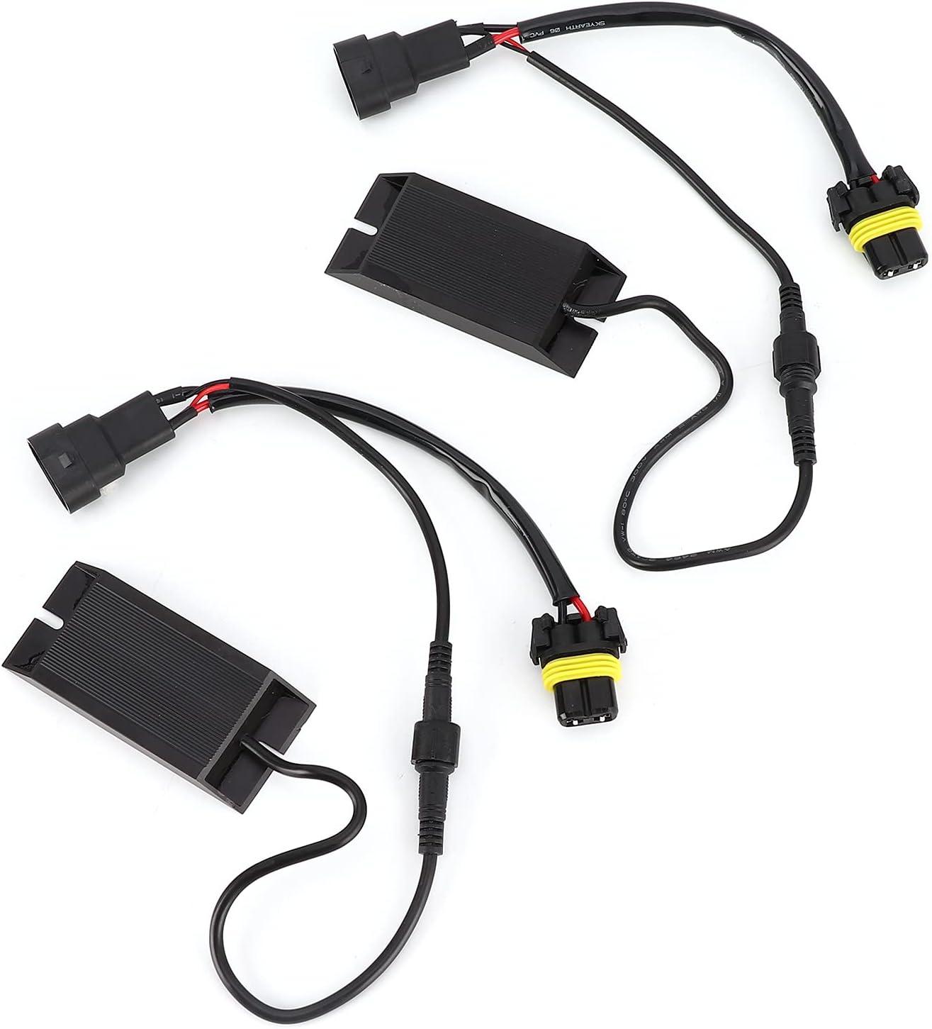 Aramox - Par De Decodificadores LED Para Coche, Luz De Coche, Decodificador De Resistencia Dividida, 9006 Zócalo De Alta Potencia Con Bajo Calor De Trabajo, DC 12 V, Resistencias De Carga De Flash, De