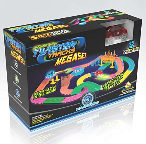 Mindscope Twister Tracks Mega Set Neon Glow in The Dark Flexible Track System with 547 Pieces Over 25 Feet of Track & Accessories