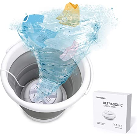 Portable Ultrasonic Washing Machine, Magic Folding Mini Washing Machine for Socks Underwears Baby Clothes 2 Lb, Usb Automatic Turbo Washer for Home Camping Dorms Trip College Rooms (Grey)