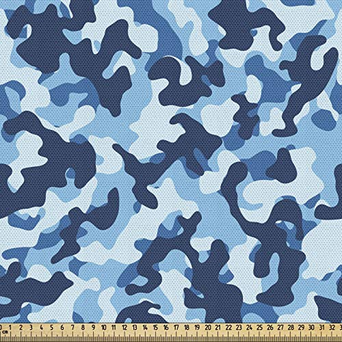 ABAKUHAUS Camuflaje Tela por Metro, Diseño En Tonos Azules, Decorativa para Tapicería y Textiles del Hogar, 1M (148x100cm), Blue Coconut
