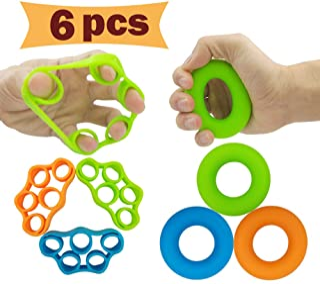 Hand Grip Strengthener, Finger Exerciser, Grip Strength Trainer (6 PCS)*New Material*Forearm Grip Workout, Finger Stretcher, Relieve Wrist Pain, Carpal Tunnel, Trigger Finger, Mallet Finger and More.