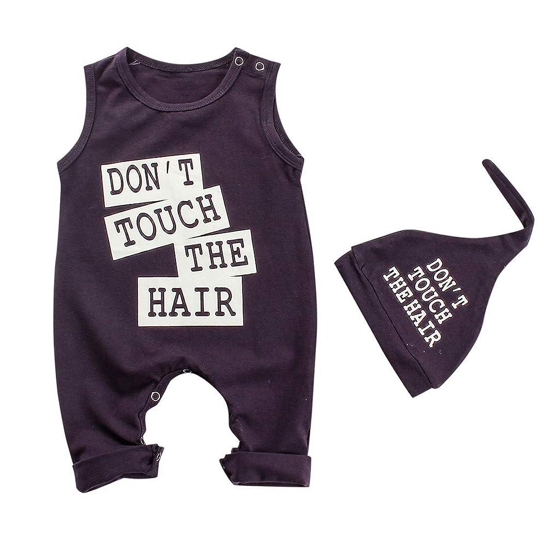 Newborn Baby Boy Girl Clothes Bodysuit Letter Print Romper+Hat 2PCS Outfits Set Romper Jumpsuit Set 0M-24M
