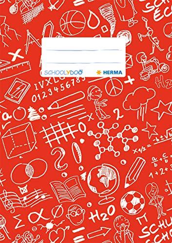HERMA 19414 Heftumschlag DIN A5 SCHOOLYDOO, mit Beschriftungsetikett, aus strapazierfähiger und abwischbarer Polypropylen-Folie, 1 Heftschoner für Schulhefte, rot