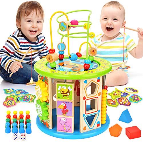 WloveTravel Motorikwürfel,10 in 1 Holzspielzeug Activity Cube Perle Labyrinth Mehrzweck-Lernspielzeug für Kinder Baby Kleinkind Alter 3 4 5 6 7 + Einjahres Mädchen Jungen