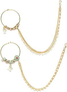 ZAVERI PEARLS Ethnic Nose Ring for Women (Golden) (ZPFK9587)