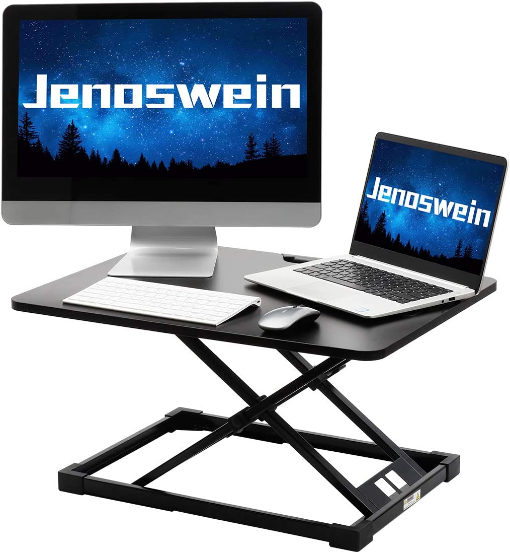 Standing Desk Converter JENOSWEIN Stand Up Desk Adjustable Height Desktop Monitor Riser for Laptop Office Computer Workstation (26 INCH with Handle)