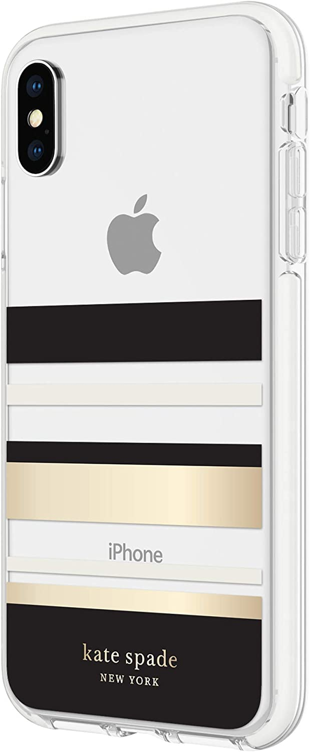 kate spade new york Park Stripe Gold Foil Case Compatible with Apple iPhone X/Xs