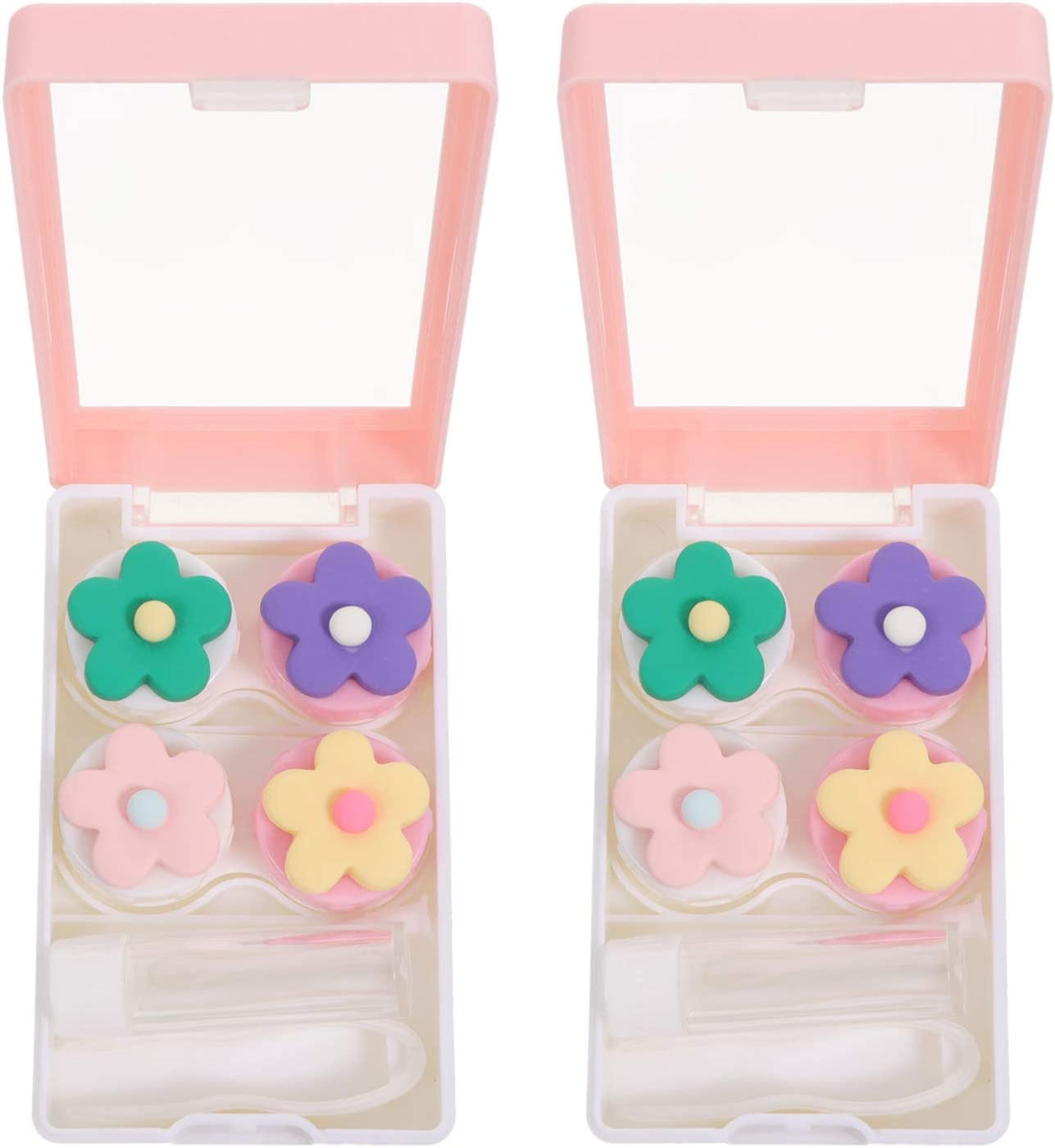 HEALLILY 2Pcs Lovely Lens Box sale B Super beauty product restock quality top! Portable Case Simple Travel