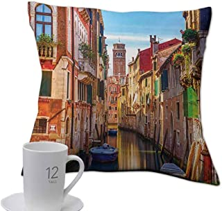 Bensonsve Pillows case for Neck European,Venice Cityscape Narrow Water Canal Building Traditional Old Buildings Heritage,Multicolor.jpg 14