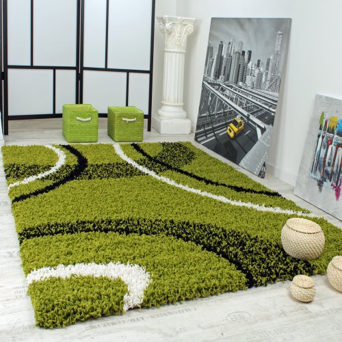 Paco Home Shaggy Teppich Hochflor Langflor Gemustert in Grün Schwarz Weiss, Grösse:160x220 cm
