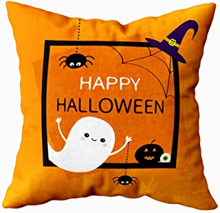 Musesh Home Pillow Cover,Cute Pillow Covers Happy Halloween Ghost Silhouette Black Spider Pumpkin Cute Cartoon Baby Orange...