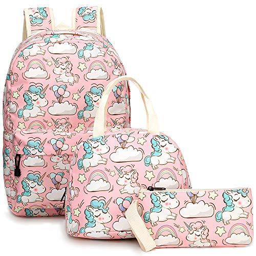 YIMENLR Kids School Bag with Lunch Box Girls, Unicorn Pink Pupil Backpack Children's Meal Bag Pen Case Set
