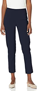 SLIM-SATION Women's Wide Band Pull On Ankle Pant with Tummy Control, Midnight, 12