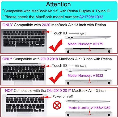 MOSISO MacBook Air 13 inch Case 2020 2019 2018 Release A2179 A1932, Plastic Hard Shell