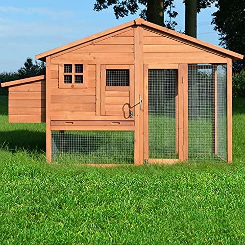 Poulailler en Bois pour Jardin extérieure 5 Poules Cage Canard 2 perchoir Nichoir 190 x 67 x 117 cm Poulailler de Luxe 143