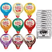 Coffee Mate .375oz Non-Dairy Liquid Creamer Singles - 9 Flavor Assortment, Hazelnut, French Vanilla, Original, Toll House Chocolate Chip, Salted Caramel - Exclusive By The Cup Sugar Packets