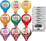 Coffee Mate .375oz Non-Dairy Liquid Creamer Singles - 9 Flavor Assortment, Hazelnut, French Vanilla, Original, Cafe Mocha, Salted Caramel (36 Pack) - Exclusive By The Cup Sugar Packets