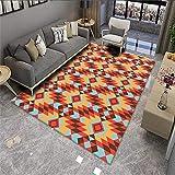 Kunsen Alfombra Dormitorio Juvenil Decoracion de Salones Alfombra Sala de Estar Rojo Naranja Azul patrón geométrico Arte Estilo Moderno Alfombra niños habitacion 2ft 7.5