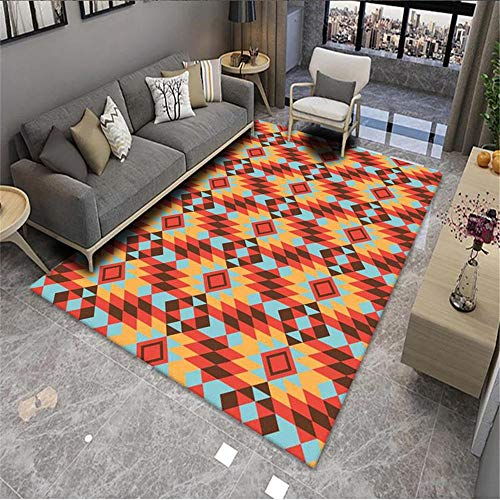 Kunsen Alfombra Grande Salon Cuadros Comedor Alfombra Sala de Estar Rojo Naranja Azul patrón geométrico Arte Estilo Moderno alfombras Lavables 4ft 7.1' X6ft 6.7'