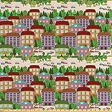 Lunarable Kinder-Stoff mit Stadtkarte von The Yard, Häuser