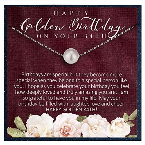 Cadeau d'anniversaire 34 ans pour femme de 34 ans - Cadeau pour femme de 34 ans - Cadeau pour femme de 34 ans - Collier de perles Swarovski