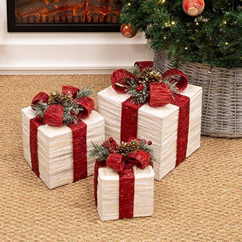 The Christmas Workshop 70749 3er Set beleuchtete Weihnachtsboxen mit roter Schleife | Weihnachtsdekoration für den Innenbereich | 65 warmweiße LED-Lichter | Batteriebetrieben | Timer-Funktion