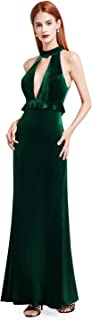 Women's Deep V-Neck Halter Neck Evening Party Maxi Dress 07180