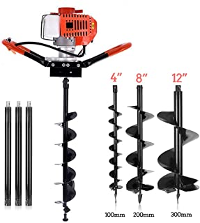 YiiYYaa 72cc 2 Stroke Post Hole Digger, 3KW Petrol Gas Powered Earth Auger with 3 Bits(4