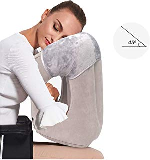 HAIYANLE,Inflatable Travel Pillow, Airplane Pillow 2019 New Edition Multifunction Pillow Support The Neck and Lumbar, Outdoor Pillow for Airplanes Trains Buses,Cars Office Napping Camping (Grey)
