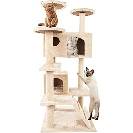 Golden Tech Cat Tree 50 Inches Tall Cat Tree Tower With Sisal Scratching Posts Cat Activity Tower Multi Level With Cozy Platform Plush Perches Ladder Cat Play House Condo Beige