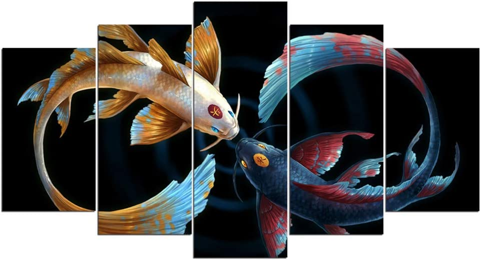 Amazon Com Qjxx Prints On Canvas 5 Pieces Artwork Koi Fish Yin Yang Awesome Painting In Black Background Picture Art Print Wall Home Office Decoration A 20 35 2 20 45 2 20 55 1 Posters Prints