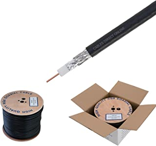 RG6 1000ft Dual Shield Coaxial Cable, 18 AWG Copper Clad Steel Conductor, Foam PE Core, 60% Aluminum Braid, PVC Jacket, Reel in Box (1000FT, Black)