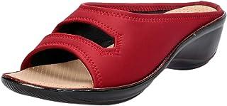 Khadims Women Red Casual Mule Sandal