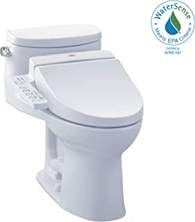TOTO MW6342034CEFG#01 WASHLET+ Supreme II One-Piece Elongated 1.28 GPF Toilet and WASHLET C100 Bidet Seat, Cotton White