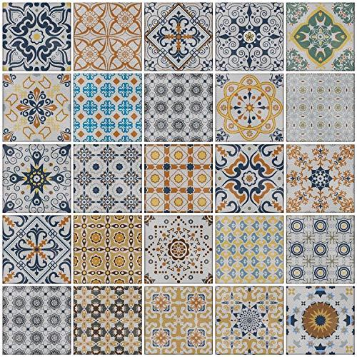 24x Mezcla gris Lámina impresa 2d PEGATINAS grises lisas para pegar sobre azulejos cuadrados de 15cm en cocina, baños – resistentes al agua y aceite