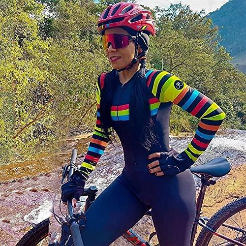Damen Radsport Overall Langarm Hosen Triathlon Enge Fahrradtrikot Sets Reiten Laufen Skinsuit MTB Anzug (Color : 1, Size : X-Small)