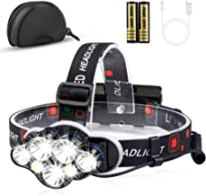KeShi Headlamp Flashlight, 12000 Lumens Brightest 7 LED USB Rechargeable Headlight with White Red Light, 8 Modes Waterproo...