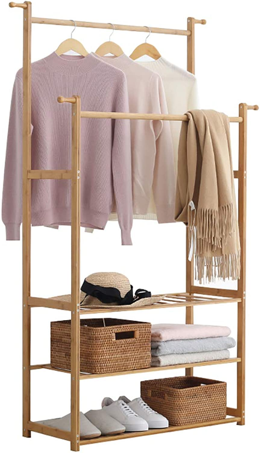 Floor-Standing Coat Rack Wooden Double Pole Clothes Tree Simple Hallstand Suitable for Bedroom Living Room and Other Scenes