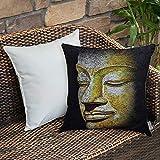Dekokissen Kissenhülle,Asiatisches Dekor, mystisches Gesicht einer uralten, weisen Statue, die sich...