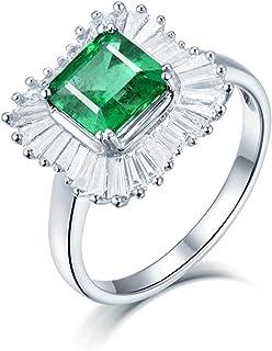ButiRest - Anello in oro bianco 750, 18 carati, con quattro artigli, taglio asco, 1,5 carati verde, smeraldo VS e diamante...