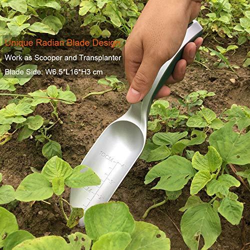 CFCT Bend-Proof Garden Trowel Tools with Sharp Edge, Rust Proof Small Gardening Hand Shovel, One-piece Aluminum Transplanter with Grading Mark, Lightweight Comfortable Ergonomic Handle