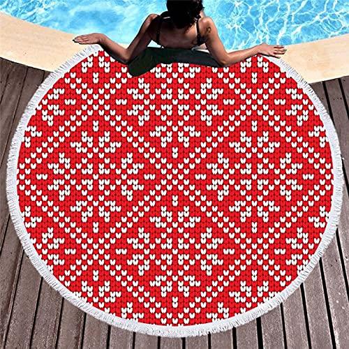 KLily Manta Estampada Redonda, Toalla De Playa, Microfibra Más Borla, Manta Decorativa para El Hogar, Manta De Toalla De Baño