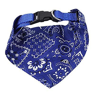 Yinew Dog Collar Neckerchief Strap Neck Scarf Triangle Towels Saliva Towel Pattern Fashion Accessories Puppy Cat Pet Products,Blue,M