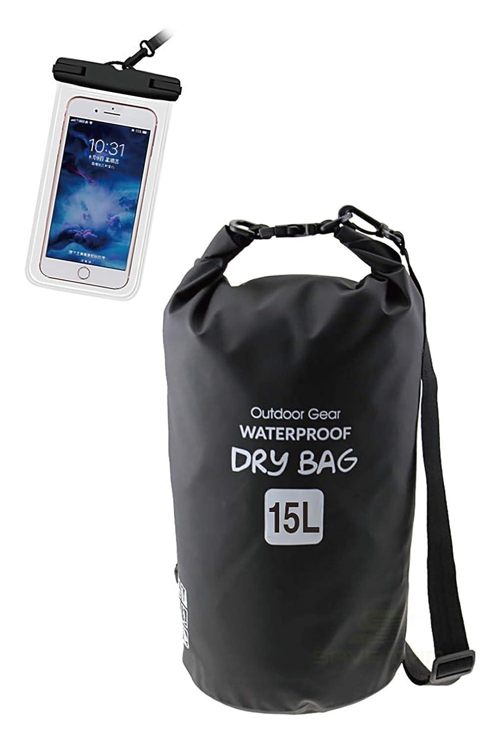 推進力旧正月王室【Amazon限定ブランド】 Jaden ドライバッグ 防水 万能 サイズ 15L スマホ ケース 付き プールバッグ 防水バッグ