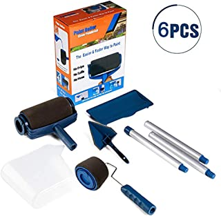 Paint Roller Brush Tools Set Wall Printing Brush kit with Paint Runner Pro, Wall Printing Brush, Smart Paint Roller Applicator for Painting Walls and Ceilings for Home Office Room (6pcs Blue)