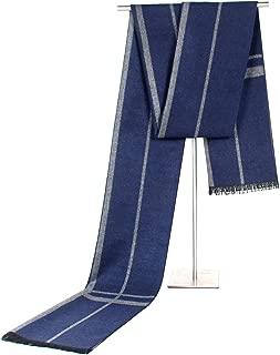 Scarf Imitation Cashmere Male and Female Business Stripe Leisure Tassel Cold Warm bib` TuanTuan (Color : Navy)