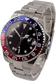 Whatswatch 40mm parnis Black dial GMT red Blue Bezel Date Window Automatic Mens Watch PA-01179