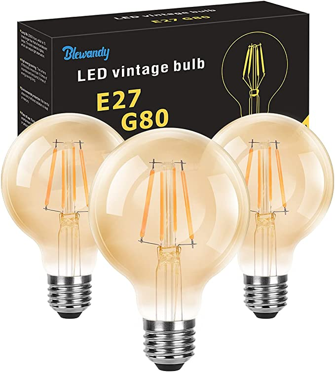 22 opinioni per Lampadine Vintage Edison 4W, Lampadina LED E27 Luce Calda 2700K 400LM, G80