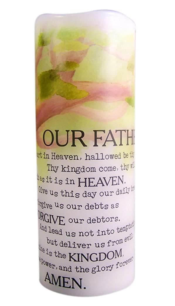 未使用助けになる満員The Lord's Prayer Flamless Flicker Vanilla Scented Wax Candle with LED Light, 20cm